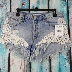 NWT Free People Good Vibes Embroidered Shorts